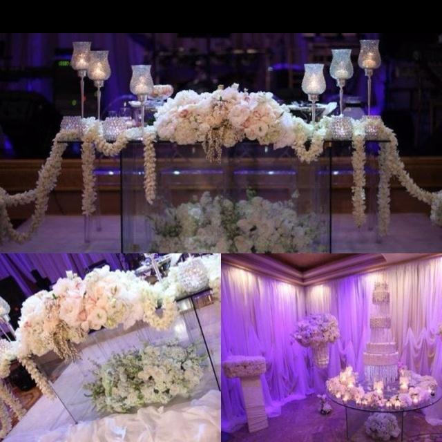 136 best bling sweetheart tables images on pinterest for Glass tables for wedding reception