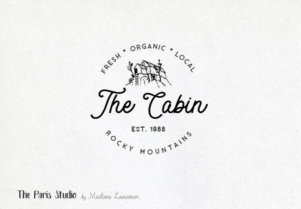 Hand Drawn Style Mountain Cabin Logo Design