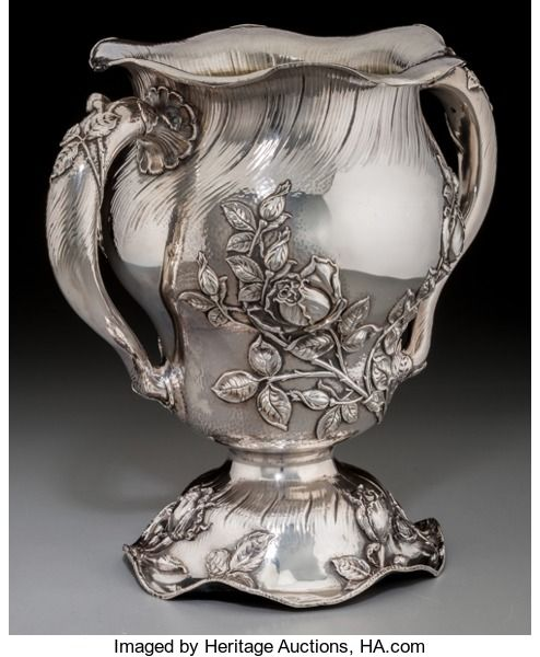 Silver Holloware, American:Cups, A Meriden Britannia Co. Parcel-Gilt Silver Martelé-StyleTwo-Handled Vase, Meriden, Connecticut, circa 1895. Marks:(M-eagle...