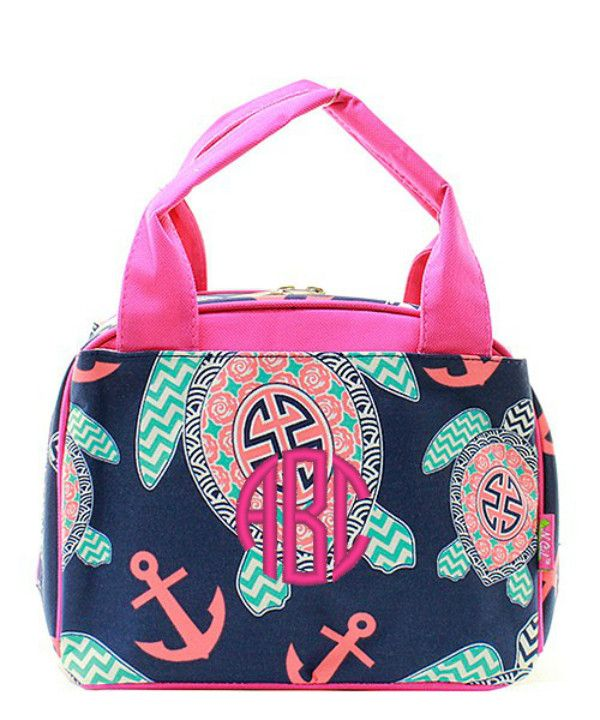 Turtle & Anchor Insulated Lunch Bag - Pink & Navy - Personalized with an embroidered monogram or name. A cute little lunch box for the kiddos! This lunch bag is insulated and perfect for a sandwich, b