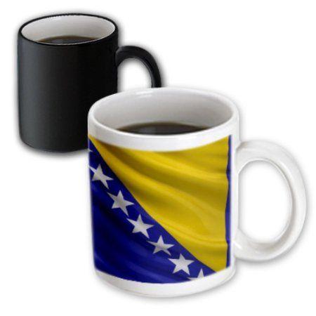 3dRose Flag of Bosnia and Herzegovina waving in the wind, Magic Transforming Mug, 11oz