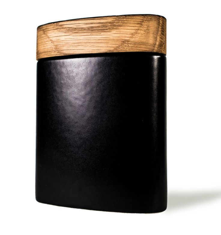 The Bernard Flask...ceramic hip flask with wooden cap from reclaimed whiskey barrel