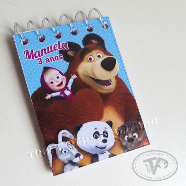 Toque Personalizado - Bloquinho 7x10 - Masha e o Urso