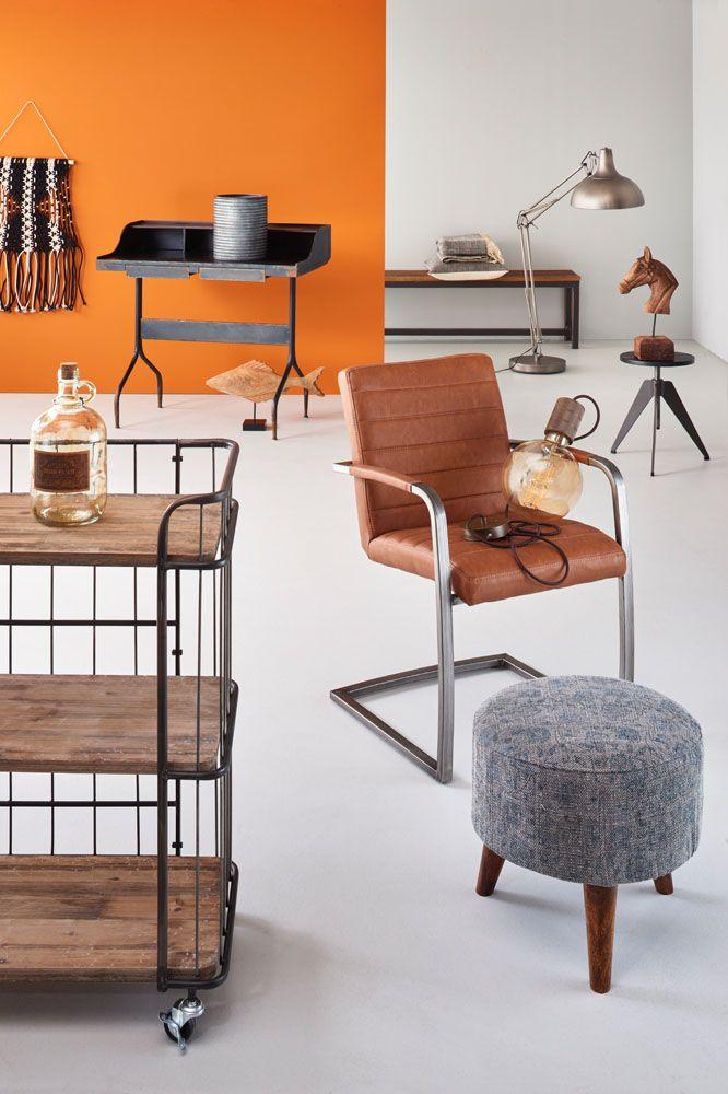 Woonexpress | industrieel vintage | kruk CAPELLE | kruk SLOTEN