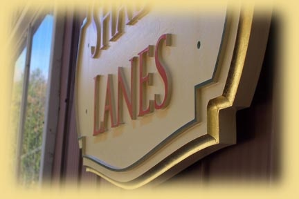 Another shot of the Shady Lanes signs showing the dimensional aspect.  Created by Jackie Shields, www.saugeensignworks.com
