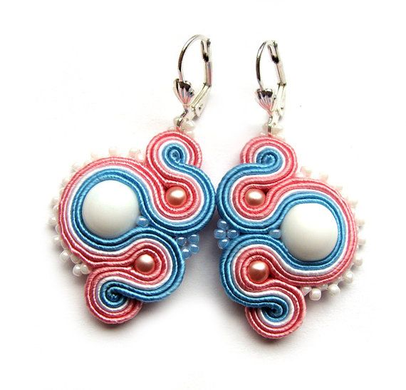 Multicolor soutache earrings pastel handmade embroidery blue turquoise white pink satin strips TOHO oaak gift for her under 50