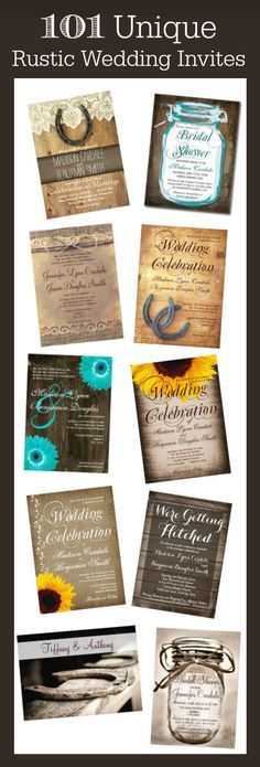101 Unique Rustic Country Wedding Invitations with a variety of rustic country wedding ideas and themes including vintage paper, horseshoes, mason jars, barn wood and rustic wood boards, burlap prints, country scenes, strings of lights, horses, cowboy themes, save the date postcards, invitations, rsvp cards, custom return address labels, custom wedding postage and more.   #wedding
