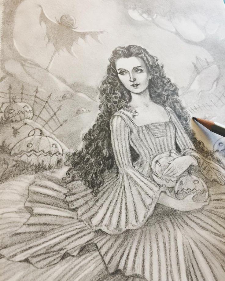 """Eeva Nikunen (@eevanikunen) on Instagram: """"Today's sketch is from a pumpkin patch 🎃. I've actually only seen one real pumpkin patch in my…"""""""