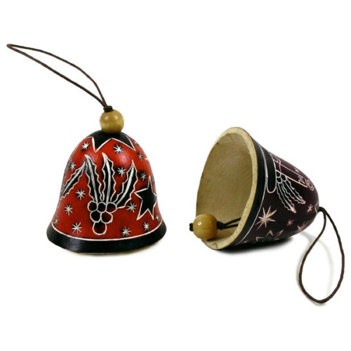Unique Two Carved Bell Gourd Set Christmas Holiday Ornaments Peru Free Shipping   eBay