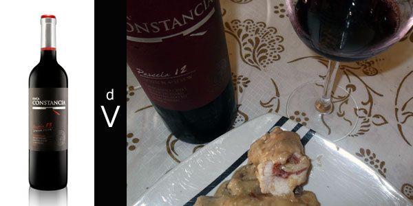 Finca Constancia Parcela 12 Añada 2012 y rollos de ternera con salsa de almendras.
