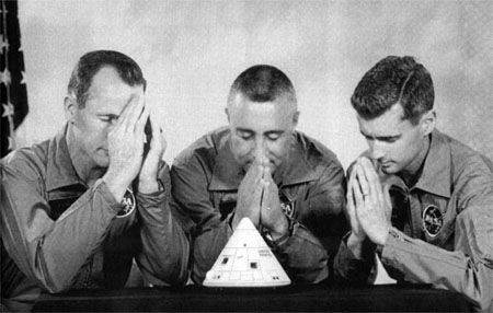 The Apollo 1 crew expressed their concerns about their spacecraft's problems by presenting this parody of their crew portrait to ASPO manager Joseph Shea on August 19, 1966- Though Shea gave the spacecraft a passing grade, after the meeting they gave him a crew portrait they had posed with heads bowed and hands clasped in prayer, with the inscription: It isn't that we don't trust you, Joe, but this time we've decided to go over your head.