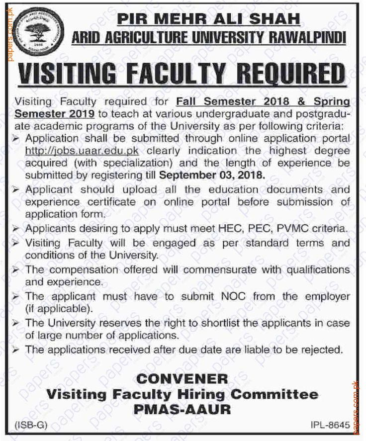 Jobs In Arid Agriculture University Rawalpindi