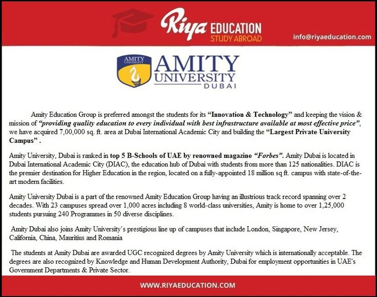 Study at Amity University, Dubai !!! To know more on abroad study programs get in touch with Riya Education.Visit our website.