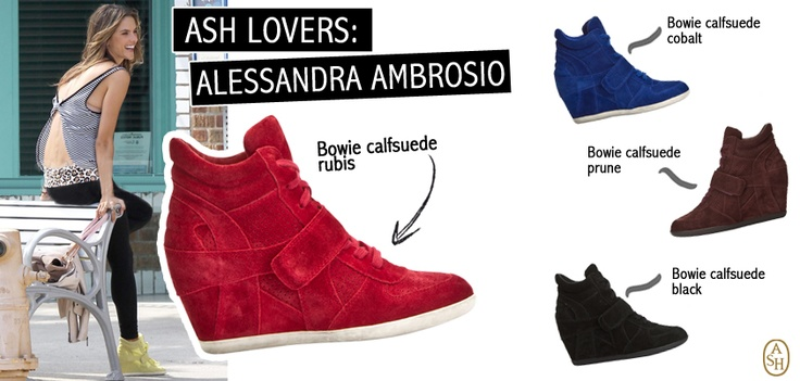 La modella Alessandra Ambrosio indossa la ginnica colorata con zeppa Bowie di ASH per un outfit sexy ma casual. Scopri tutte le versioni: tu di che colore sei? #ashitalia