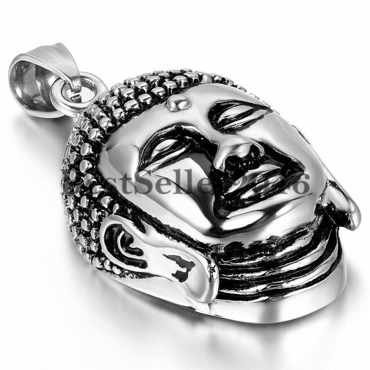 Edelstahl Klassiker Buddha Kopf Anhänger Halskette für Damen und Herren Schmuck