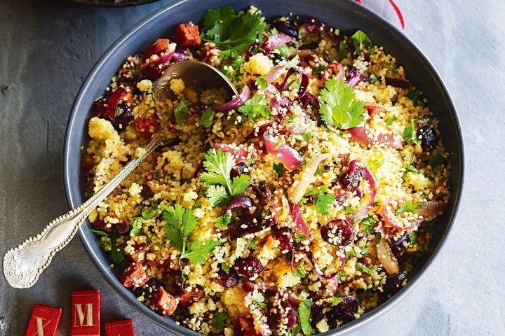 Cranberry, chorizo and orange couscous salad
