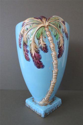Vintage Art Deco Beswick Ware Pottery Light Blue Palm Tree Vase Large Rare Art Deco Era Glass