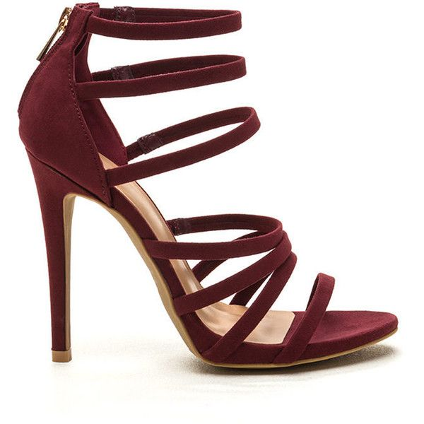 RED Top Rung Faux Suede Strappy Heels found on Polyvore featuring shoes, pumps, heels, red, red open toe pumps, strap pumps, stiletto shoes, strappy pumps and red stiletto pumps