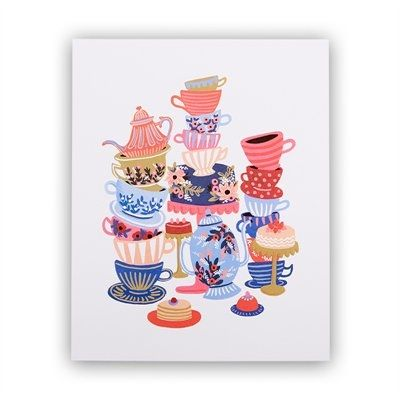 """Follow Alice's adventures in Wonderland with this brightly illustrated art print created from an original gouache painting by Anna Bond. The perfect splash of colour and whimsy to any home or office space. Printed on natural white cover archival paper in full-color. 8"""" x 10""""."""