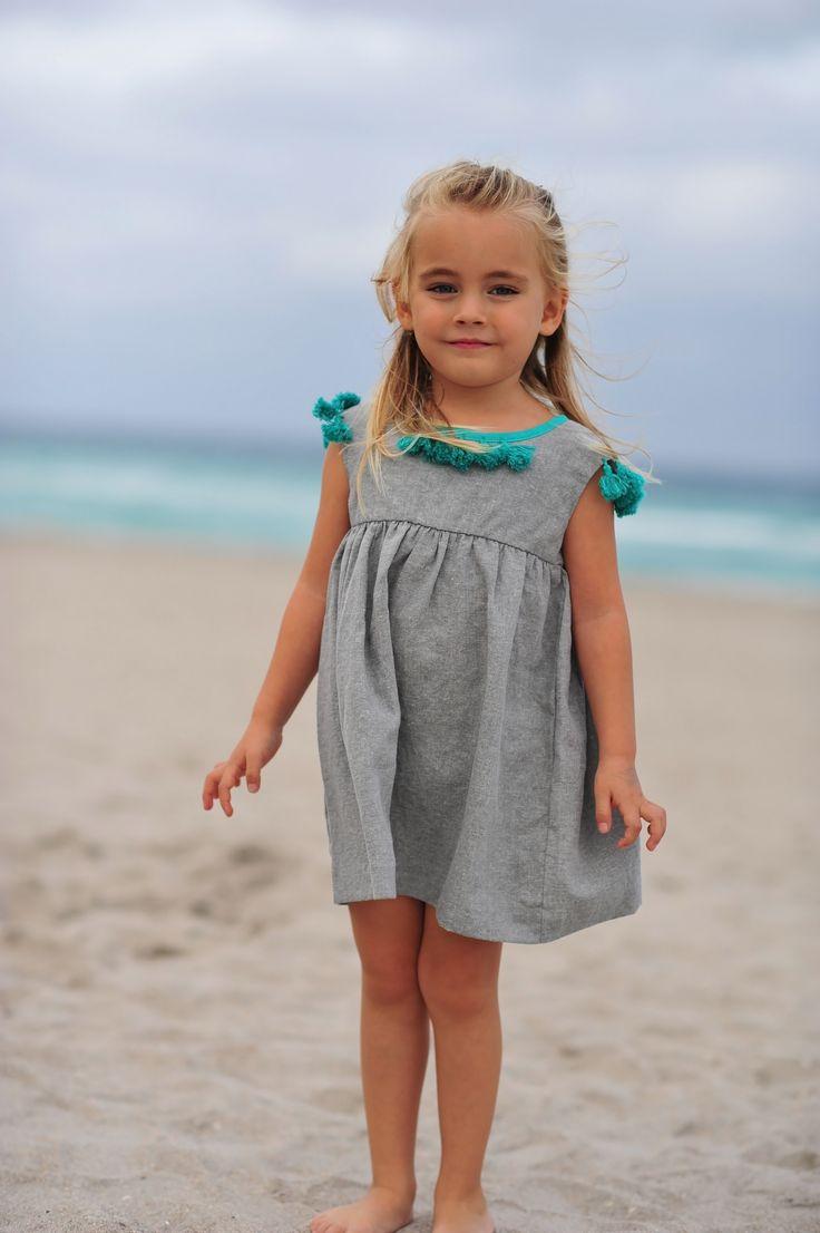 Elie Dress - Gray/Linen. Handmade tassels  http://www.creamcoralcollection.com/Linen-girls-dress-tassels-p/70003.htm