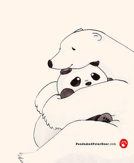 Hug by Panda And Polar Bear