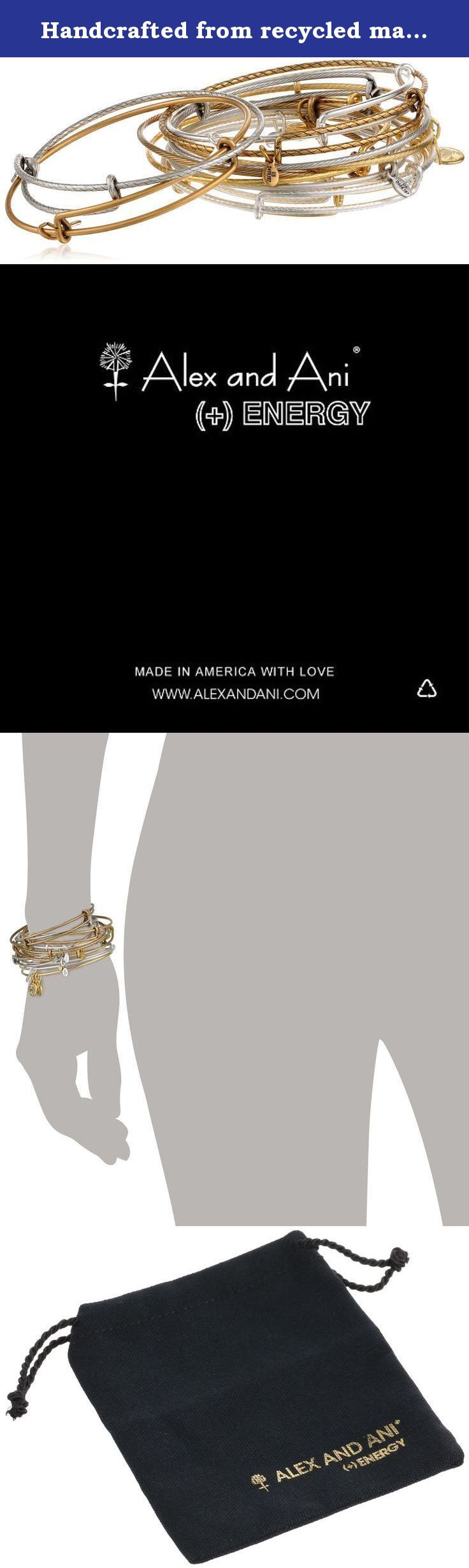 Handcrafted from recycled materials Alex and Ani bangles each hold a unique meaning. Wear alone or layered to create your custom look. The Alex and Ani patented Expandable Wire Bangles come in a set of 12 assorted finishes and textures. Designed to wear alone or to layer for a customized look, Alex and Ani's patented Expandable Wire Bangle is the most innovative concept in jewelry, allowing the wearer, with the slide of a hand, to adjust the bangle for a perfect fit. * Each assorted…