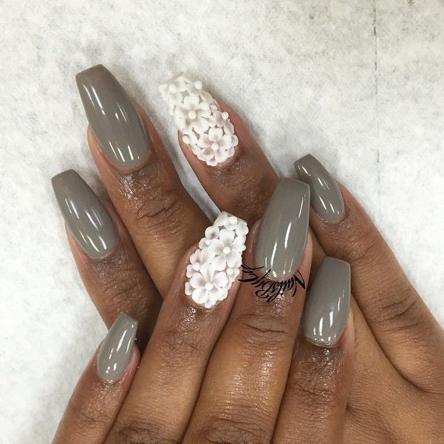 matte 3d acrylic flower nails - Google Search