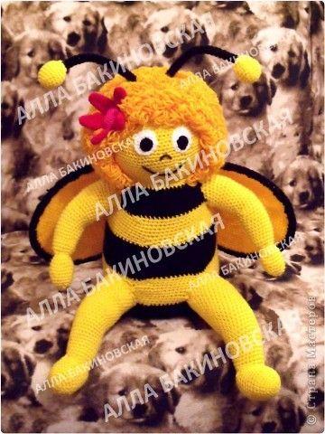 Игрушка Вязание крючком Вязаная игрушка Пчела Майа Нитки Пряжа фото 1