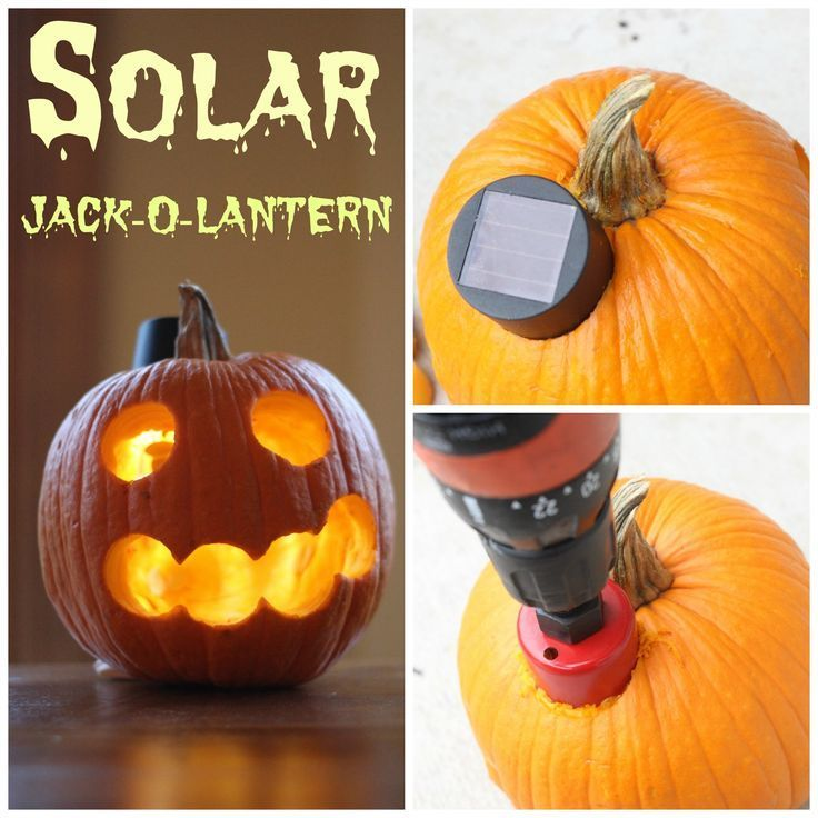 A solar Jack-O-Lantern! Just with a 1.99 pie pumpkin and a $1.00 solar light from the dollar store! No worries about candles or buying the expensive electric ones.