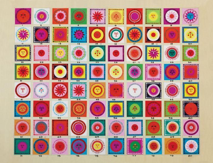 Disegno per scatola di fiammiferi del ristorante La Fonda del Sol, Alexander Girard, 1960 – (c) Alexander Girard Estate, Vitra Design Museum