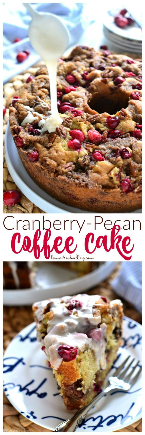 This Cranberry-Pecan Coffee Cake is packed with fresh cranberries, pecans, and brown sugar streusel, then topped with a creamy vanilla glaze