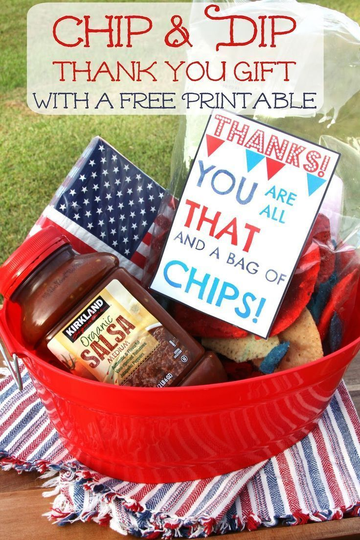 Chip and Dip Summer Thank You Gift Basket & Free Printable Card