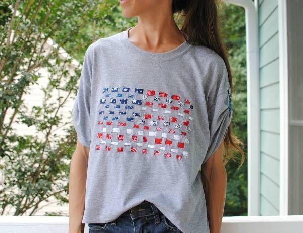 Tutorial: Woven fabric flag t-shirt