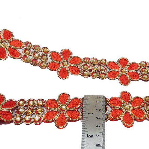 17 breit Orange bestickt Schnitt Arbeit von Indianbeautifulart