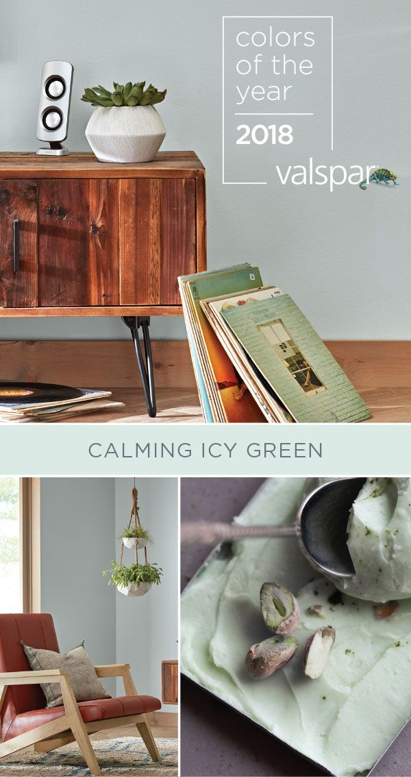 Icy Green is a refreshing neutral that wavers just between blue and green. Explore all of Valspar's 2018 Colors of the Year! Find it at Lowe's (7004-7 Emerald Ice).