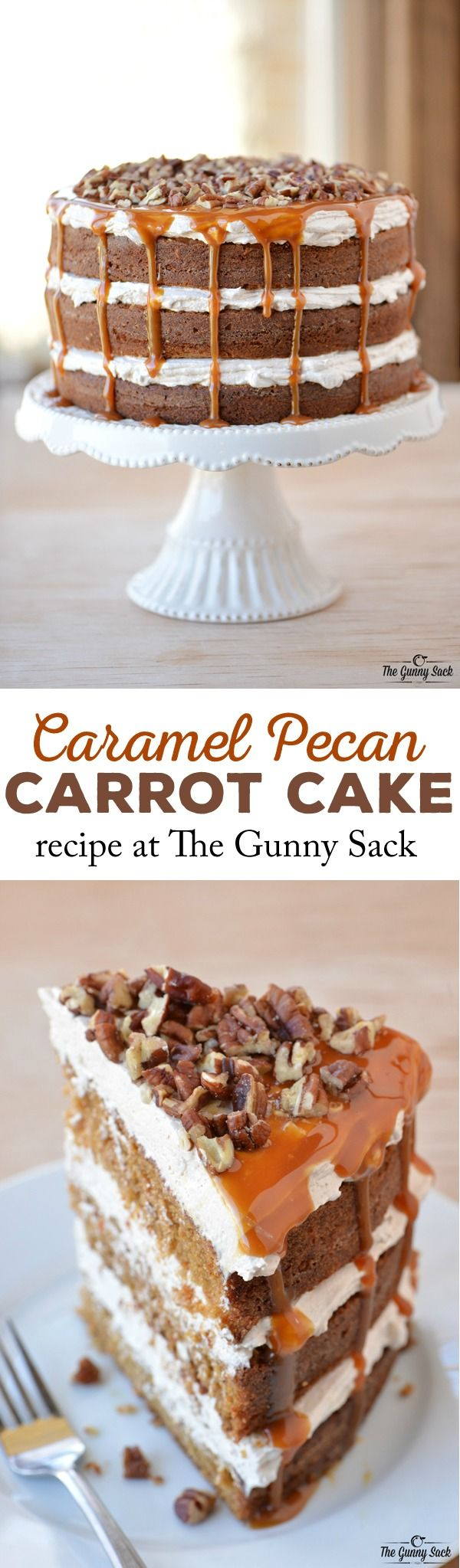 Everyone will love this epic Caramel Pecan Carrot Cake recipe with layers of fluffy filling, caramel drizzling down the sides and chopped pecans on top. #AppleButterSpin #client