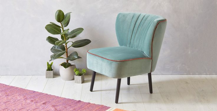 Dimensions: H73 x W61 x D70cm (seat height 43cm)Colour: Light mint velvet with blush pink pipingFabric: 100% polyesterConstruction: Solid birch wood frame and legsComfort: S-Spring seat construction with added foam for extra comfortWeight: 9kg