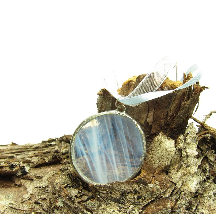 Winter solstice moon stained glass pendant necklace