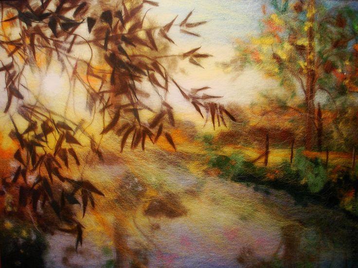 """Купить картина из шерсти """" Солнечное утро"""" - шерсть для валяния, картина, картина для интерьера, подарок"""