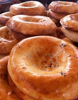 Uzbek non bread decorated with checkich stamp centre