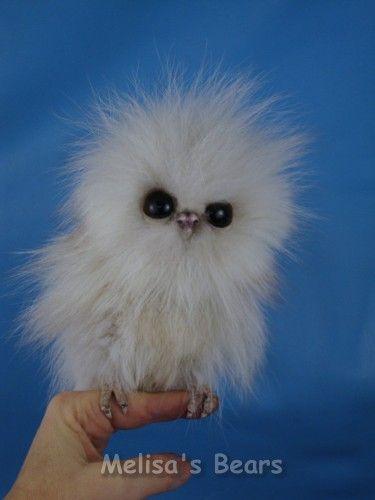 """Ooak 6"""" FOX FUR Owlet Baby Snowy OWL BY Bear Artist Melisa OF Melisa'S Bears…"""