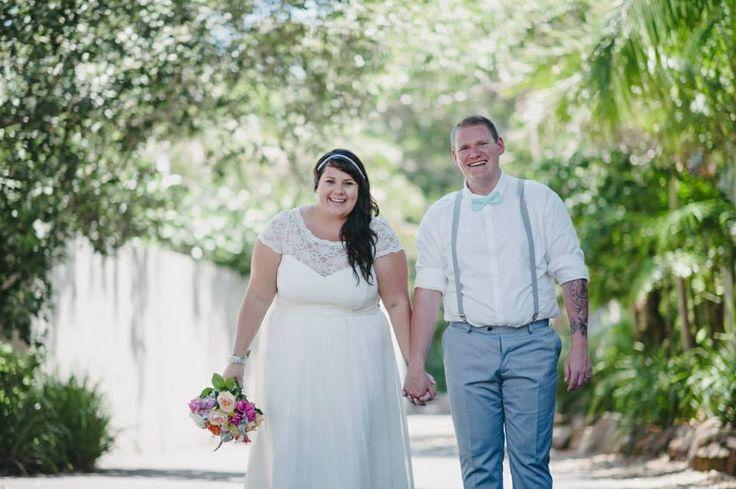 Bride and Groom, Byron Bay Wedding, Broken Head Beach, Pavilion 2, lace wedding dress, grey groom