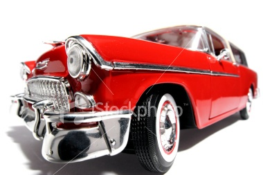 Scale classic US toycar 1955 fisheye picture Royalty Free Stock Photo