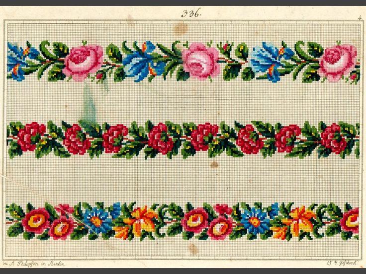 Mönster. För korssöm, tryckt och handkolorerat. 3 blombårder i rött, grönt, blått och orange