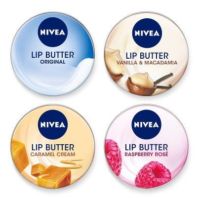 Nivea Lip Butter - Caramel Cream, Raspberry Rose, Original, and Vanilla & Macadamia. #Weihnachtsgeschenk