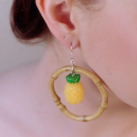 Kitsch Pineapple Bamboo Hoop Earrings, , Earrings, Bow & Crossbones, Bow & Crossbones   - 1