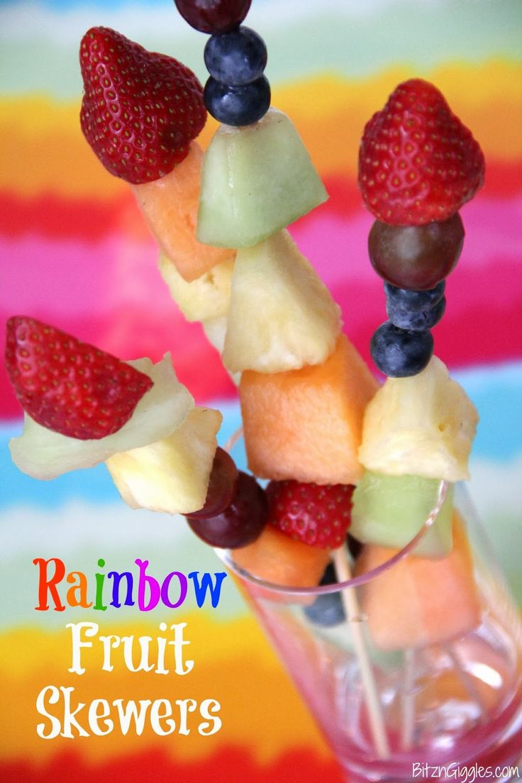 Rainbow Fruit Skewers: A fun idea for brightening up a party or getting rid of the winter blahs! Think St. Patrick's Day, birthdays, summer picnics. . . {BitznGiggles.com}