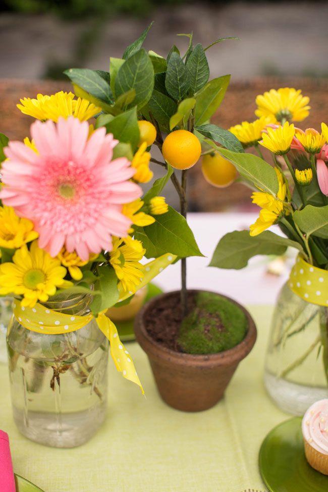 Lemon tree centerpieces pink lemonade inspired vineyard