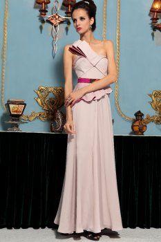 A-ligne une épaule volant champagne longues robes de vêtements de cérémonie
