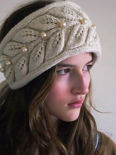 leaf and pearl ear warmer headband  9d2f6bdedb1